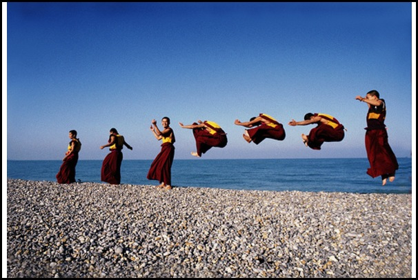 Monk dancers from Shechen Monastery in Nepal. Brittany, France, 1997